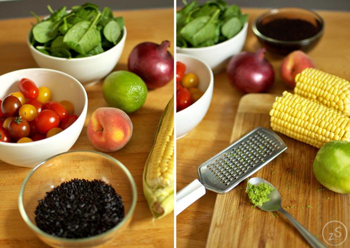 sałatka z czarnym ryżem, kukurydzą i pomidorkami