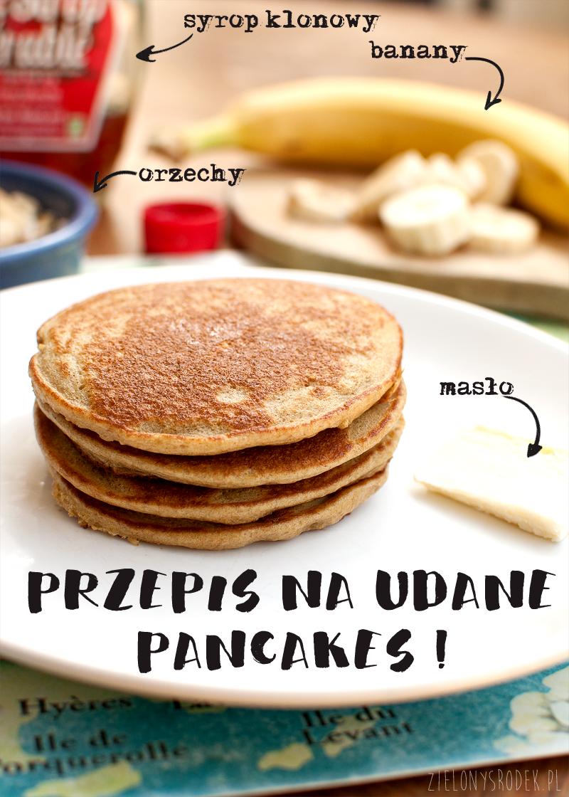 pancakes owsiane z bananem - przepis. pysze zdrowe placki