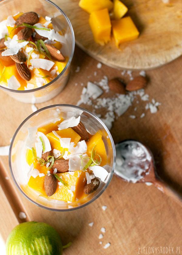 ryż na mleku kokosowym z mango i skórką limonki