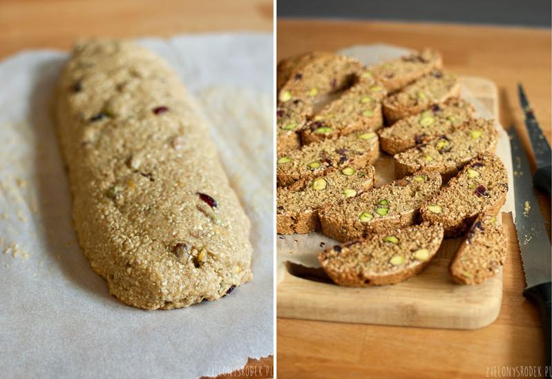 owsiane biscotti z pistacjami i żurawiną- przepis
