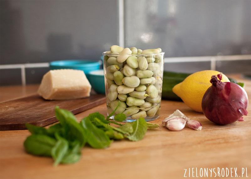 risotto z bobem, cukinią, cytryną i miętą
