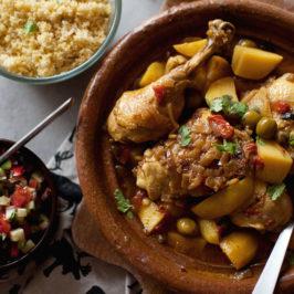 tagine z kurczaka z cytrynami i oliwkami